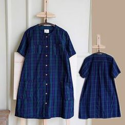 Rosadame - Short-Sleeve Plaid Shirt Dress
