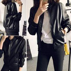 Phyllis - Faux Leather Biker Jacket