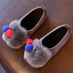 绿豆蛙童鞋 - 童装毛毛平跟鞋