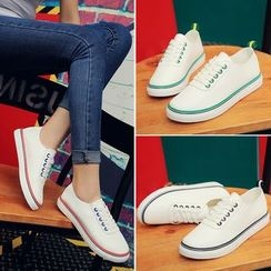 AIKE - Lace Up Canvas Sneakers