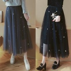 Munai - Beaded A-Line Skirt