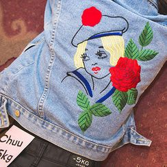 chuu - Metal-Button Embroidered Denim Jacket
