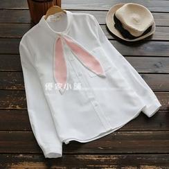 YOYO - 長袖領結帶襯衫