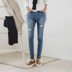 JUSTONE - Band-Waist Distressed Skinny Jeans