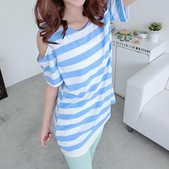 59 Seconds - Cutout Shoulder Striped Tunic