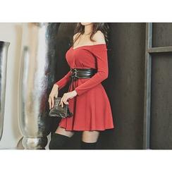 UUZONE - Off-Shoulder Faux-Leather Trim Flare Dress