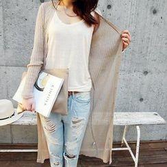 NANING9 - Linen Blend Rib-Knit Cardigan