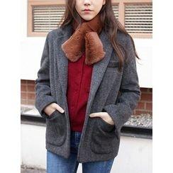 FROMBEGINNING - Wool Blend Herringbone Blazer