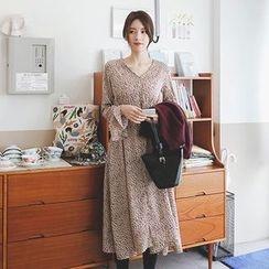 mimi&didi - Tie-Waist Pattern A-Line Long Dress