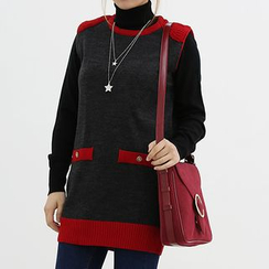 Seoul Fashion - Contrast-Trim Knit Vest