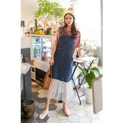 PPGIRL - Tulle-Hem Denim Suspender Dress