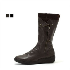 MODELSIS - Genuine Leather Zip-Detail Boots