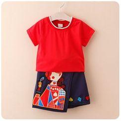Rakkaus - Set: Short-Sleeve Contrast-Trim T-Shirt + Applique A-Line Skirt