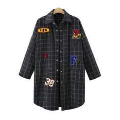 Coronini - Applique Plaid Knit Jacket