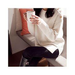 MASoeur - Button-Shoulder Slit-Hem Sweater