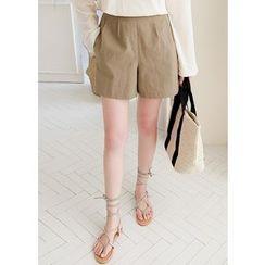 J-ANN - Band-Waist Linen Blend Shorts
