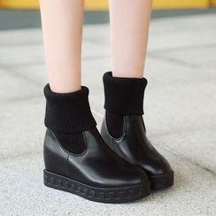 佳美 - 针织拼接短靴
