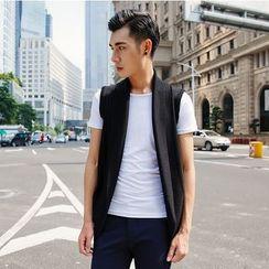 XINNI - 無袖純色針織開衫