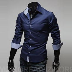 WIZIKOREA - Slim-Fit Dress Shirt