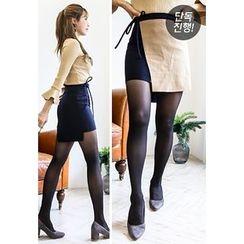 INSTYLEFIT - Tie-Waist Two-Tone Mini Skirt