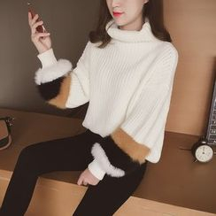 Cocofield - Turtleneck Lantern Sleeve Colour Block Knit Top