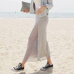 Seoul Fashion - Layered-Panel Long Skirt