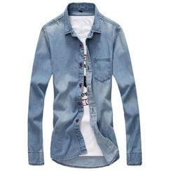 RUYA - Long-Sleeve Pocket-Accent Shirt