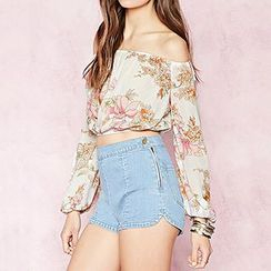 Richcoco - Floral Print Long Sleeve Cropped Chiffon Top