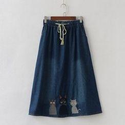 P.E.I. Girl - Embroidered Denim Midi Skirt