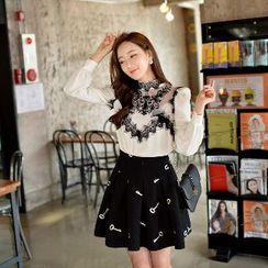 Dabuwawa - Wool Blend Embroidered A-Line Skirt