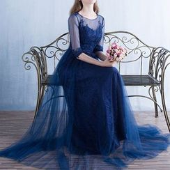 Luxury Style - Lace Appliqué Elbow-Sleeve Sheath Evening Gown