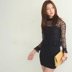 SO Central - Long-Sleeved Cutout Shoulder Lace Dress