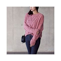 MASoeur - Drop-Shoulder Cable-Knit Sweater