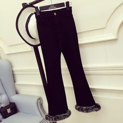 RUI - Fleece Trim Boot Cut Pants
