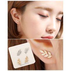Miss21 Korea - Set of 2: Leaf Stud Earrings (4 pcs)