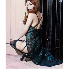 Merone - Set: Embroidered Nightdress + Stockings + Thongs