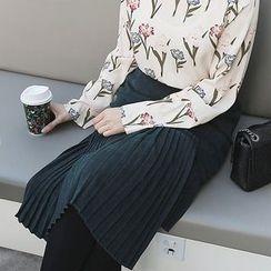 Seoul Fashion - Band-Waist Pleated A-Line Skirt