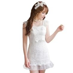 Candy Rain - Lace Ruffle Hem Sleeveless Dress