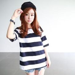 rico - Drop-Shoulder Striped T-Shirt