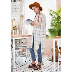 GOROKE - Long-Sleeve Plaid Shirtdress