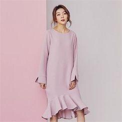 MAGJAY - Ruffled-Hem Zip-Back Midi Dress