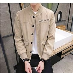 NAPO - Embroidered Faux Suede Button Jacket