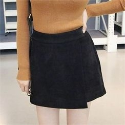 Picapica - Inset Shorts Faux-Suede Mini A-Line Skirt