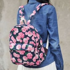 SUPER LOVER - Canvas Floral Backpack