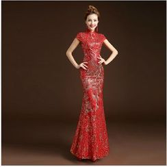 Posh Bride - Cap-Sleeve Sequined Mermaid Wedding Cheongsam