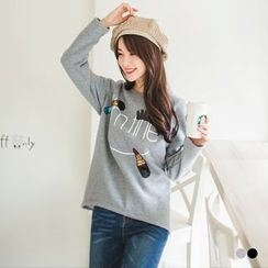 OrangeBear - Sequined Cosmetic Graphic Pullover