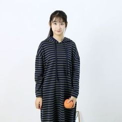 Ranche - Striped Hooded Pullover Dress