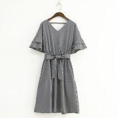 兰芝 - 短袖格子A字连衣裙