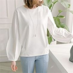 JOAMOM - Round-Neck Puff-Sleeve Top