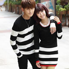 Igsoo - Couple Striped Knit Top / Striped Knit Dress